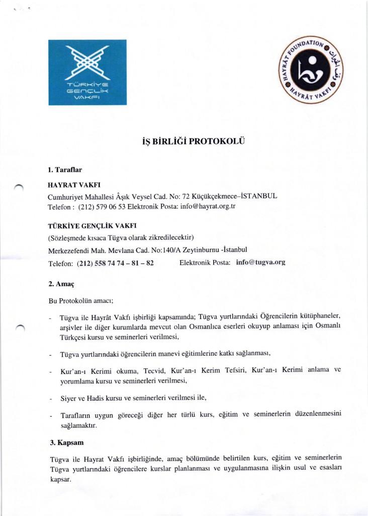 Hayrât Vakfı ve Tügva Arasında İmzalanan Protokol